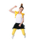 Dance class. Girl isolated on white dancing in her dance outfit stock photos