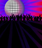Dance Club. Background with people dancing under shining disco ball vector illustration