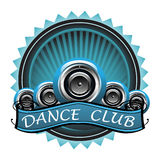 Dance club badge. Blue badge with many loudspeakers and the text dance club written with white letters Stock Image