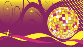 Dance club business card with disco ball Stock Image