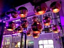 Dance Club. Discotheque in Copenhagen Denmark Purple Facet ball Stock Image