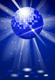 Dance club party vector background with disco ball. Dance ball bright reflection, illustration of music ball disco Stock Photo