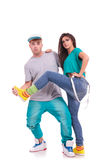 Dance couple fooling around stock photography