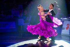 Dance couple performs at the ballroom dance event Royalty Free Stock Images