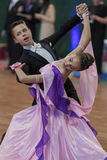 Dance Couple Performs Juvenile-1 Standard European Program on National Championship Stock Photo