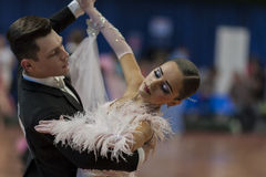Dance Couple Performs Juvenile-1 Standard European Program on National Championship Stock Photos