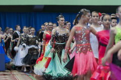 Dance couples prior to Parade Ceremony of National Championship of the Republic of Belarus Stock Images