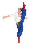 Ukrainian dance Gopak. Dancer performing a dance element vector illustration