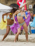 Dance. Dancing cheerleaders during a beachvolley match in Holland Royalty Free Stock Photography