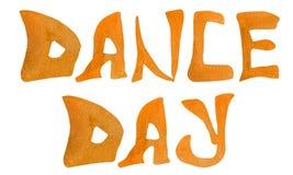 Dance day watercolor hand lettering orange color