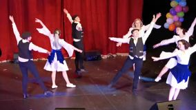 Dance ensemble at the Jewish State Theater, Romania. Performance on stage with the occasion of the Purim celebration stock video footage