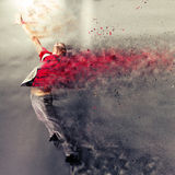 Dance explosion. Surreal dancer exploding during dance action Royalty Free Stock Images