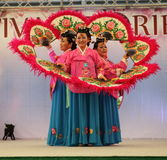 The dance of the fans - Korea. Festival of the East, April 24 to 27 and 1 to 4 May 2014 to the Parc des Expositions Novero Milan, the magic of the Orient: India Stock Photos