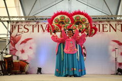 The dance of the fans Korea. Festival of the East, April 24 to 27 and 1 to 4 May 2014 to the Parc des Expositions Novero Milan, the magic of the Orient: India Royalty Free Stock Image