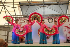 The dance of the fans Korea. Festival of the East, April 24 to 27 and 1 to 4 May 2014 to the Parc des Expositions Novero Milan, the magic of the Orient: India Royalty Free Stock Photography