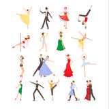 Dance festival, different dance styles, flat icon. Set isolated vector illustration Royalty Free Stock Photography