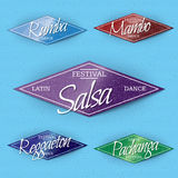 Dance Festival insignia  and labels for any use. Dance Festival Mamba, Salsa, Pachanga, regaeton, samba badges insignia  and labels for any use Stock Images