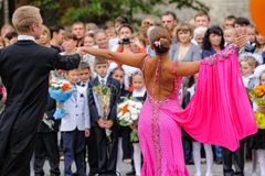Dance for first-grade pupils. Tyumen. Russia Stock Photo