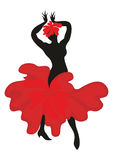 The dance flamenco. Beautiful graceful woman dancing Spanish dance flamenco. Black silhouette, the dress is styled in the shape of a red flower. Set vector illustration