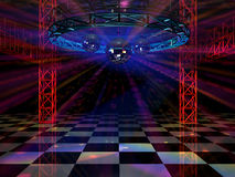 Dance floor. With mirror balls and red lattice framework Stock Images
