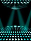 Dance floor disco poster background. Cyan spotlights stock illustration