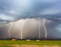 A Dance of Four Lightning Bolts in the Mountains Royalty Free Stock Photography