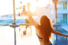 Dance of freedom. Girl enjoying summer. Dance of freedom and passion. Attractive girl with long beautiful hair enjoying summer Royalty Free Stock Photos