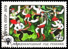 `The Dance of Friendship` 12th y.o., Ussuriisk, International Year of the Child serie, circa 1979 stock image
