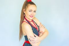 Dance girl. attractive woman smiling. And dancing. portrait with hands at face. horizontal orientation Royalty Free Stock Images