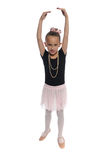 Dance girl on white. Cute young girl posing in a dance costume on a white background Stock Photo