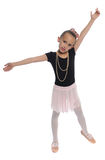 Dance girl on white. Cute young girl posing in a dance costume on a white background Stock Photography