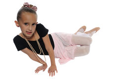 Dance girl on white. Cute young girl posing in a dance costume on a white background Royalty Free Stock Photo