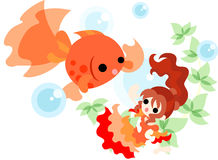 Dance of gold fishes and girls Royalty Free Stock Images