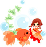 Dance of gold fishes and girls Stock Photo