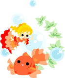Dance of gold fishes and girls Stock Photos