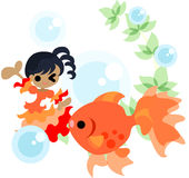 Dance of gold fishes and girls Stock Images