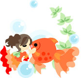 Dance of gold fishes and girls Royalty Free Stock Photo