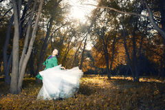 Dance in the golden forest Stock Images