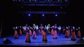Dance group dance on stage. KIEV - FEBRUARY 19: Dance group dance on stage - Cup of Ukrainian, VII Championship in modern dance on February 19, 2017 in Kiev stock footage