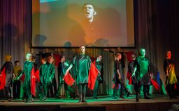 Dance group performs dance in honor of Victory Day Stock Photos