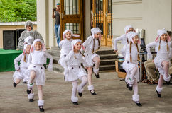 Dance group of young children dancers perform at a children's party in front of the audience dressed as penguins and birds Royalty Free Stock Photography