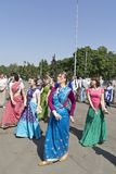 Dance of Hare Krishna girls Stock Photos