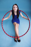 Dance hoop Beautiful woman in blue Stock Image