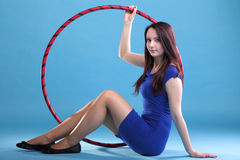 Dance hoop Beautiful woman in blue Royalty Free Stock Images