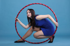 Dance hoop Beautiful woman in blue Stock Photography