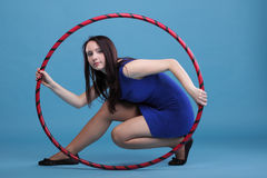 Dance hoop Beautiful woman in blue Royalty Free Stock Photos