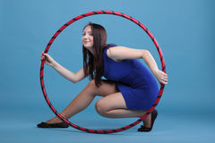 Dance hoop Beautiful woman in blue Stock Photos