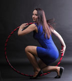 Dance hoop Beautiful woman in blue Royalty Free Stock Image