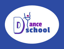 Dance icon concept. Ballet school studio logo design template. Fitness dance class banner background with symbol of abstract character ballerina in dancing Stock Photo