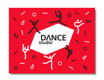 Dance icon concept. Ballet studio logo design template. Fitness dance class banner background with symbol of abstract people ballerina in dancing poses. Vector Stock Photo
